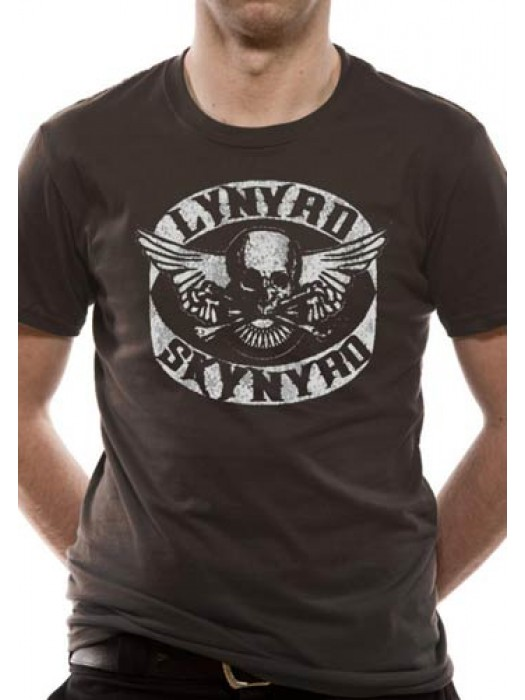 LYNYRD SKYNRYD T SHIRT Official Merchandise LYNYRD SKYNRYD - BIKER PATCH (UNISEX) Grey t-shirt