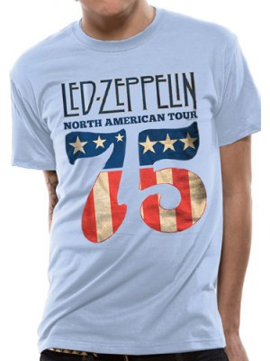 LED ZEPPELIN T SHIRT Official Merchandise LED ZEPPELIN - US 75 (UNISEX) Light Blue t-shirt
