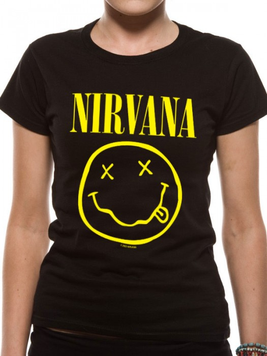 NIRVANA T SHIRT Official Merchandise NIRVANA - SMILEY (FITTED Black t-shirt