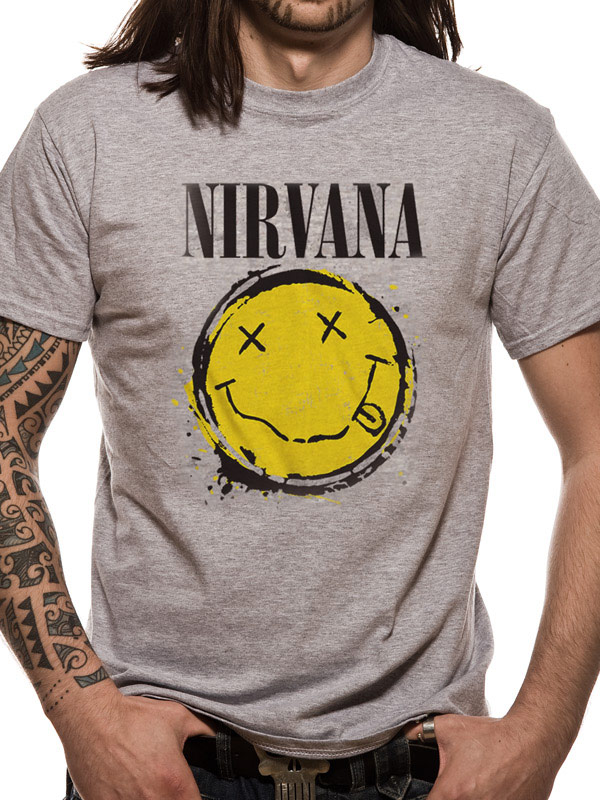 68889fae NIRVANA T SHIRT Official Merchandise NIRVANA - SMILEY SPLAT (UNISEX) Grey t- shirt