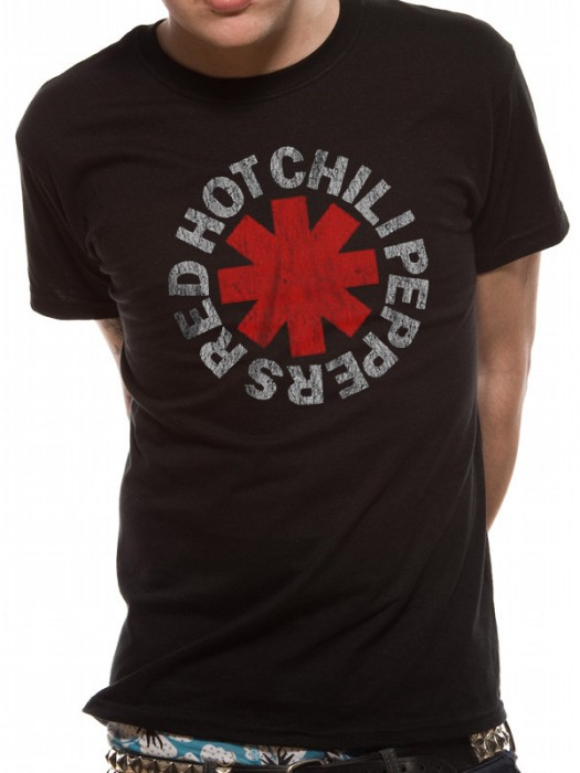 RED HOT CHILI T SHIRT Official Merchandise RED HOT CHILI PEPPERS - DISTRESSED ASTERISK (UNISEX)RED HOT CHILI Black t-shirt