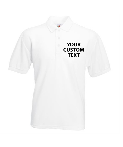 Personalised Polo Shirts Pique Fruit of the Loom White 170gsm, Colours 180gsm with custom text Embroidery or logo