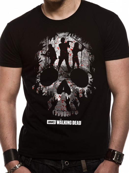 WALKING DEAD  T SHIRT Official Merchandise WALKING DEAD - TRIO SKULL SILHOUETTE (UNISEX)  Black t-shirt