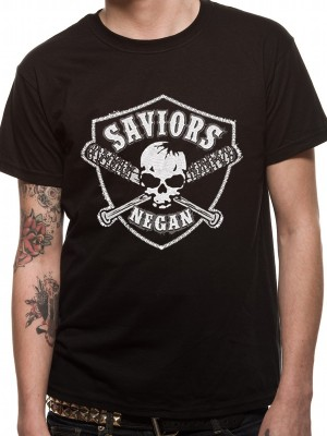 WALKING DEAD  T SHIRT Official Merchandise WALKING DEAD - SAVIOURS CREST (UNISEX)   Black t-shirt