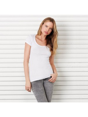 Plain t-shirt Sheer mini rib scoop neck Bella 135 GSM