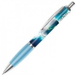 Plastic Pen Contour Pen with Full Colour Wrap Retractable Penswith ink colour Black