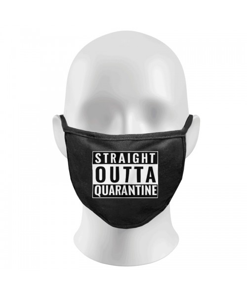 Straight Outta Quarantine Print Funny Face Masks Protection Against Droplets & Dust