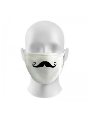 English Moustache Print Funny Face Masks Protection Against Droplets & Dust