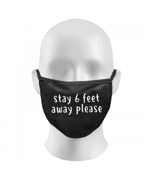 Stay 6 Feet Away Print Funny Face Masks Protection Against Droplets & Dust