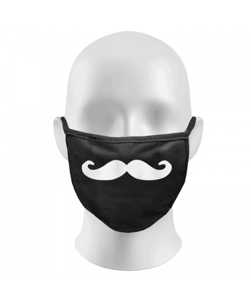 Handlebar Moustache Print Funny Face Masks Protection Against Droplets & Dust