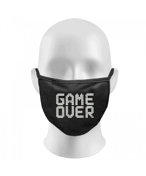 GAME OVER Print Funny Face Masks Protection Against Droplets & Dust