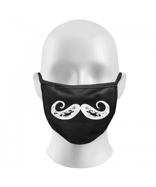 Imperial Moustache Print Funny Face Masks Protection Against Droplets & Dust