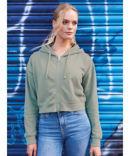 Plain   Women's fashion cropped zoodie  Zoodie AWDis Just Hoods 280 GSM