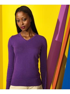 Plain Women's cotton blend v-neck sweater Sweater Asquith & Fox 12 GSM