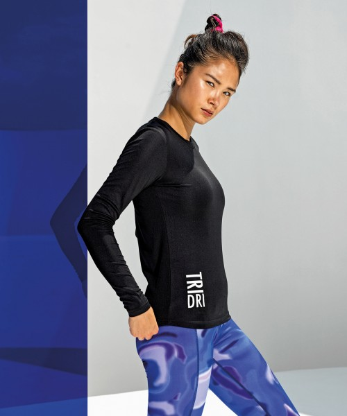 Plain Women's TriDri® long sleeve performance t-shirt T-shirts TriDri® 135 GSM