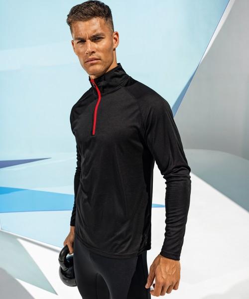 Plain TriDri® long sleeve performance ¼ zip T-shirts TriDri® 135 GSM
