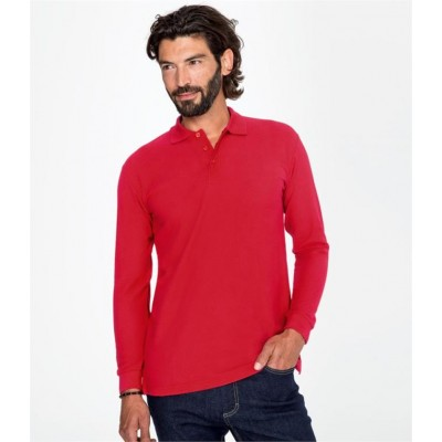 Plain STAR LONG SLEEVE COTTON PIQUE POLO SHIRT SOLS 170 GSM
