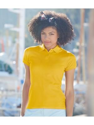 Plain Lady Fit Premium Pique Polo Shirt Fruit of the Loom White 170 gsm Cols 180 gsm