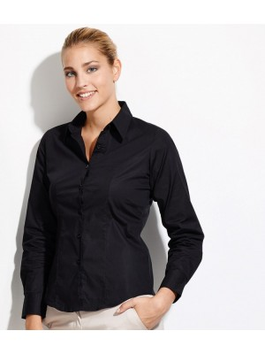 Plain LADIES EDEN LONG SLEEVE FITTED SHIRT SOLS 140 GSM