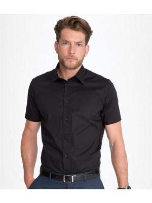 Plain BROADWAY SHORT SLEEVE FITTED SHIRT SOLS 140 GSM
