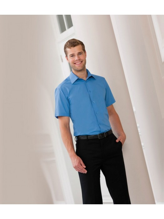 Plain Poplin Shirt Short Sleeve Tailored Russell White 110 gsm Cols 115 gsm GSM