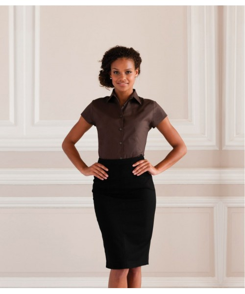 Plain Collection Ladies Short Sleeve Easy Care Fitted Shirt Russell 140 GSM