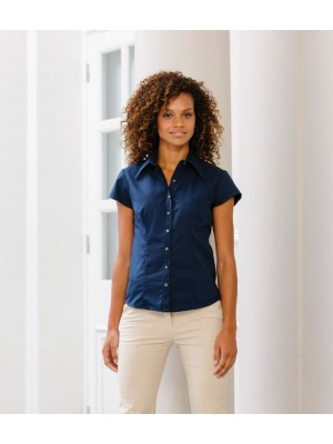 Plain Collection Ladies Cap Sleeve Tencel Fitted Shirt Russell 136 GSM