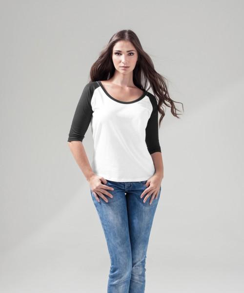 Plain Women's ¾ contrast raglan tee  T-shirts Build Your Brand 140 GSM
