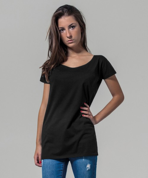 Plain Women's wide neck tee T-shirts Build Your Brand 140 GSM