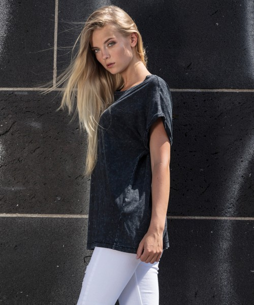 Plain Women's acid washed extended shoulder tee T-shirts Build Your Brand 170 GSM