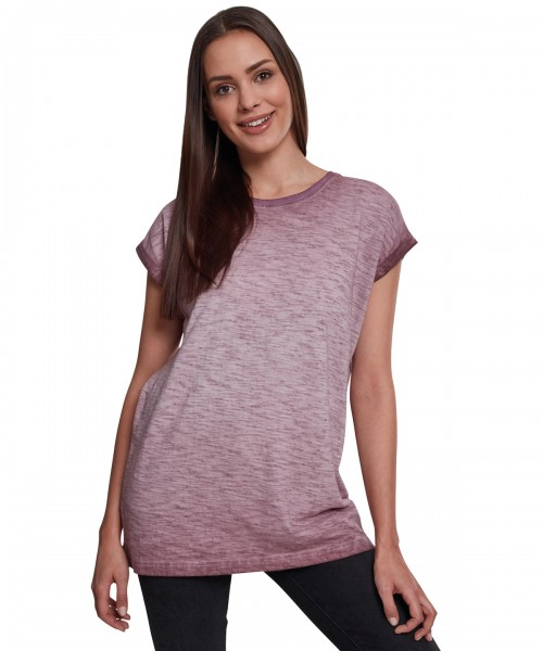 Plain Women's spray dye extended shoulder tee T-shirts Build Your Brand 180 GSM