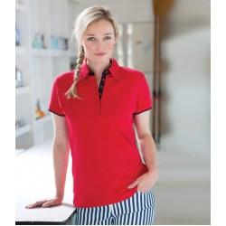 Plain Ladies Contrast Pique Polo Shirt Front Row 200 GSM