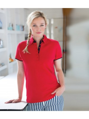 Plain Ladies Contrast Pique Polo Shirt Front Row 200 GSM