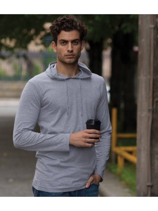 Plain T-Shirt Long Sleeve Hooded Skinnifit 140 gsm GSM