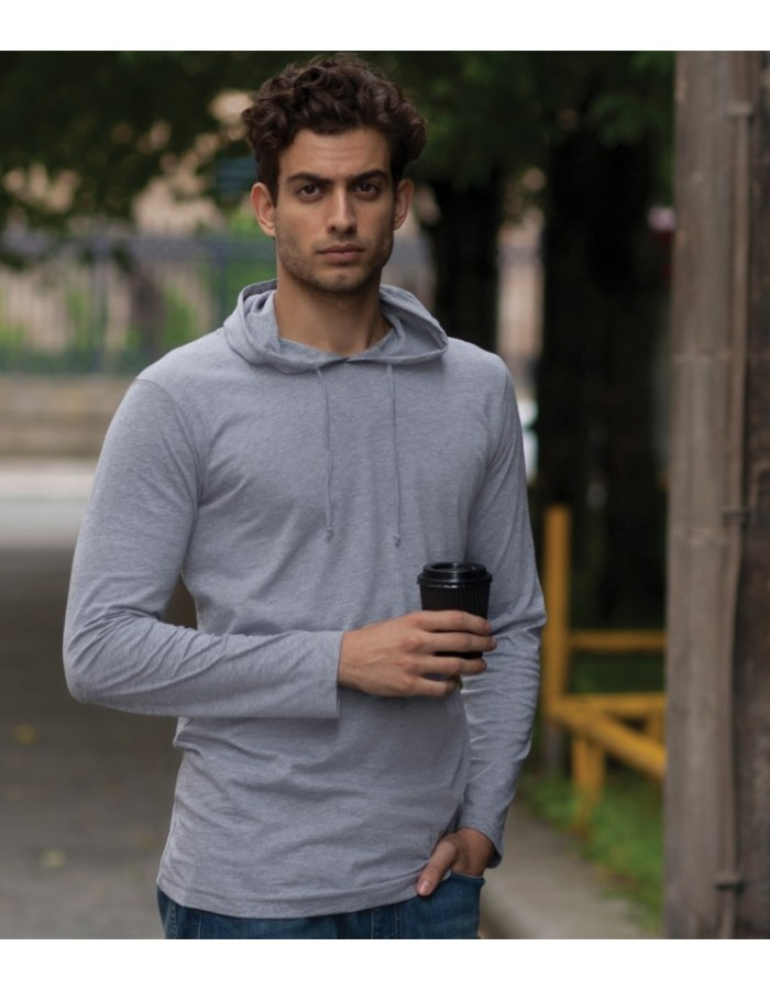 Plain T-Shirt Long Sleeve Hooded Skinnifit 140 gsm
