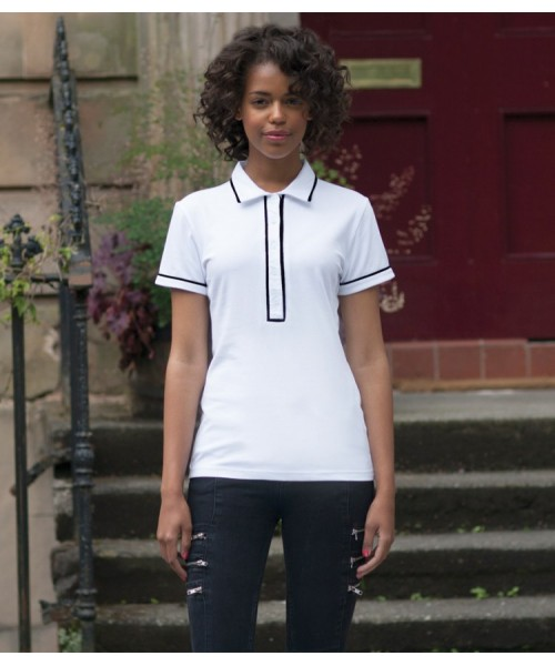 Plain Ladies Contrast Piped Polo Shirt Skinnifit 200 GSM