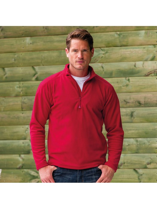Plain Micro Fleece Zip Neck Russell 190 GSM