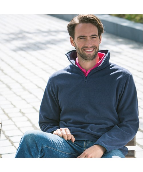 Plain Micro Fleece Zip Neck Inner Henbury 200 GSM