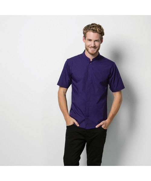 Plain Collar Shirt Short Sleeve Mandarin Kustom Kit 115 GSM