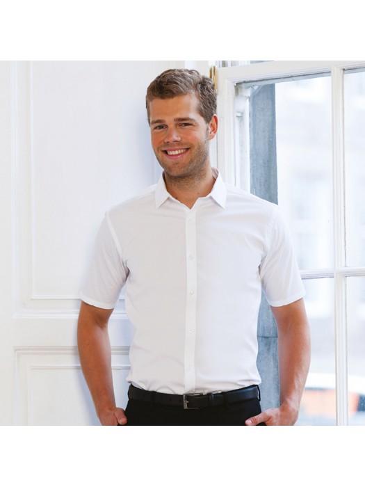 Plain Shirt Short Sleeve Stretch Russell Black 130 gsm White 125 GSM