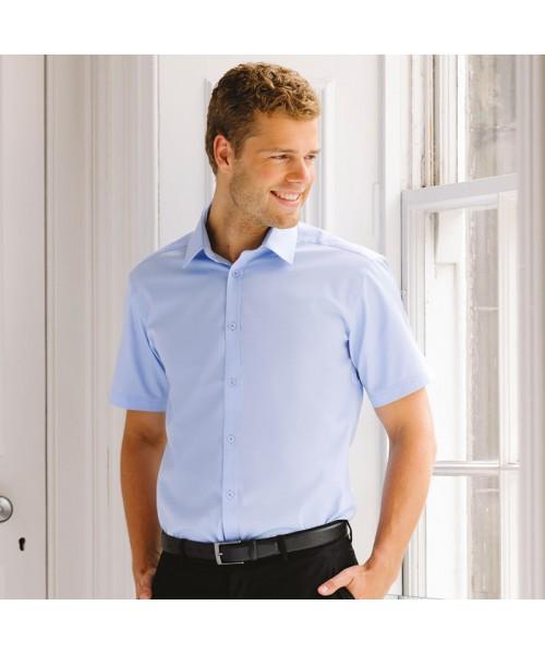 Plain Herringbone Shirt Collection Short Sleeve Russell White 125 gsm Light Blue 130 gsm