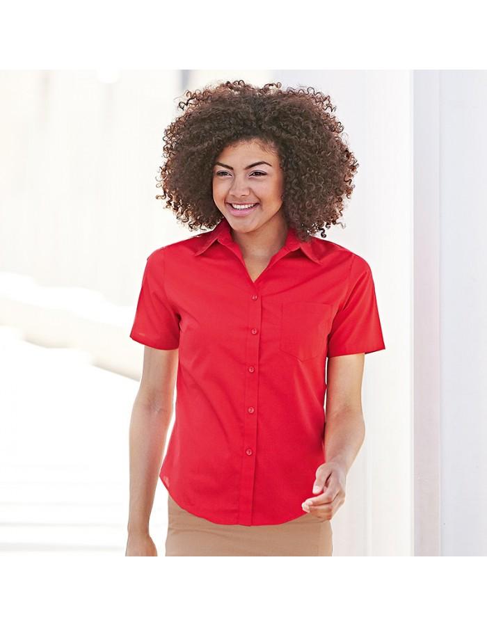 Plain Lady Fit Short Sleeve Poplin Shirt Fruit of the Loom 180 GSM