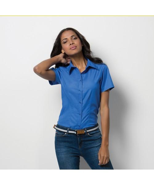 Plain Oxford Shirt Ladies Short Sleeve Kustom Kit 135 GSM