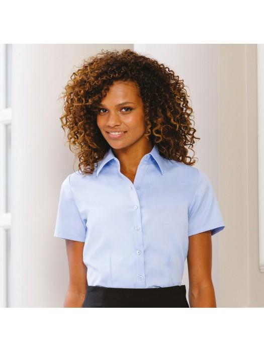 Plain Shirt Short Sleeve Herringbone Russell White 125 gsm Light blue 130 GSM