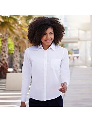 Plain Poplin Shirt Fit Long Sleeve Fruit of the Loom White 115 gsm Cols 120 GSM