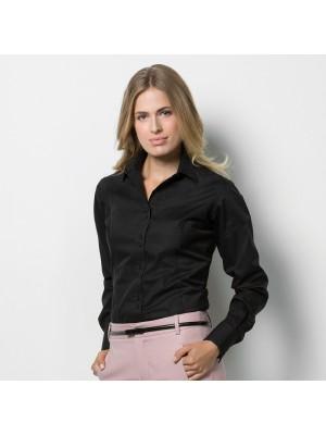 Plain Business Shirt Ladies L/S City Kustom Kit White 120 gsm Cols 125 GSM
