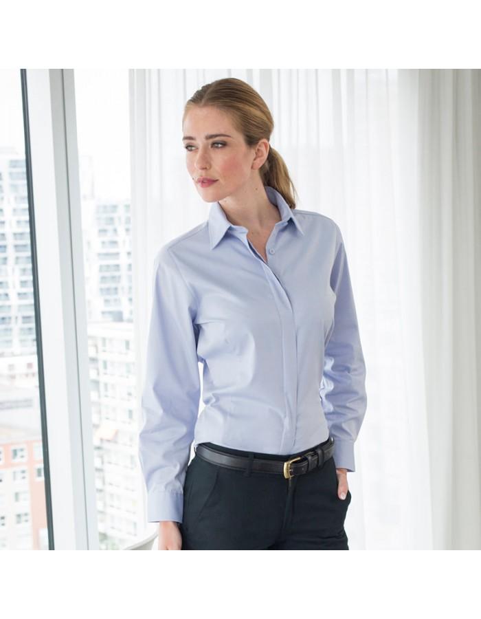 Plain Oxford Shirt Ladies Long Sleeve Henbury 130 GSM
