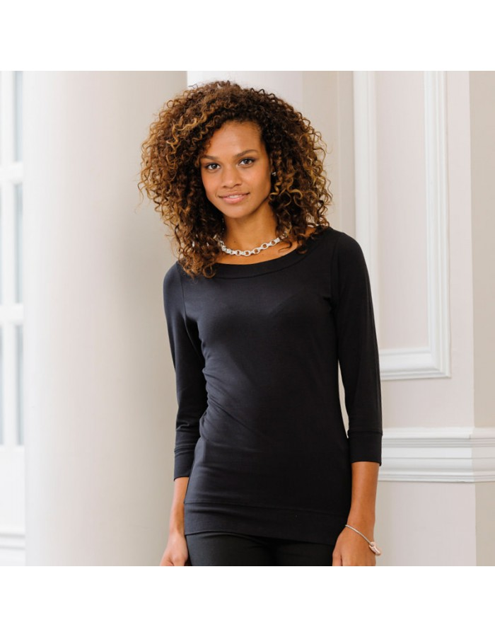 Plain Stretch Top Ladies 3/4 Sleeve Russell White 215 gsm Black 220 GSM