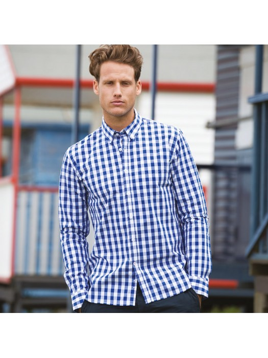 Plain Cotton Shirt Long Sleeve Checked Front Row 140 GSM