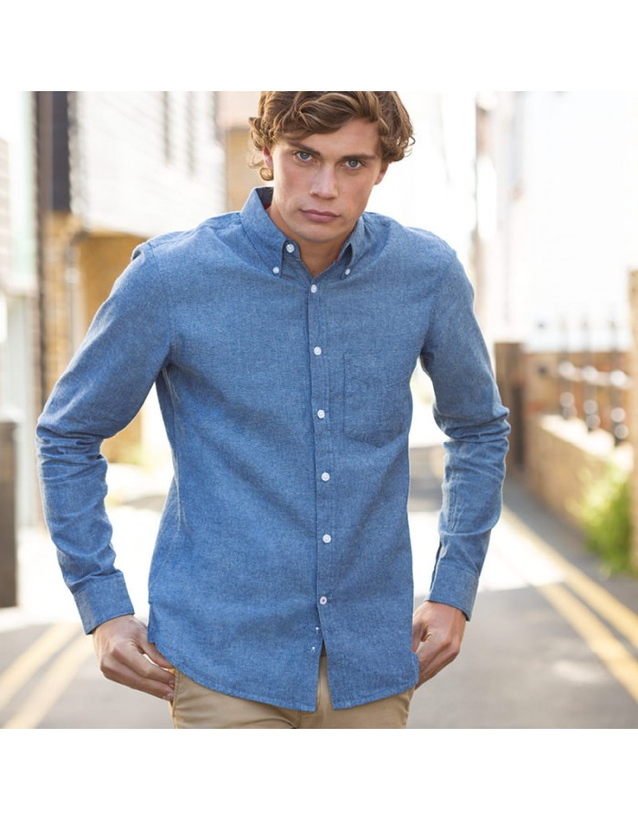 Plain Chambray Shirt Classic Long Sleeve Front Row 160 GSM